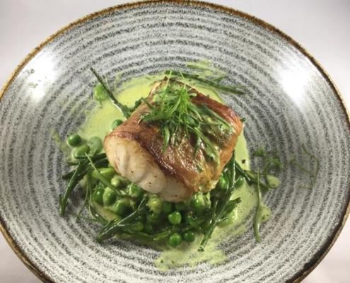 Line Caught Cod Parma ham, summer fricassee, wild garlic cream