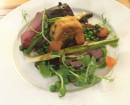 Rump of Lamb braised shoulder, potato fondant, pea and mint fricassee, tomato and caper jus