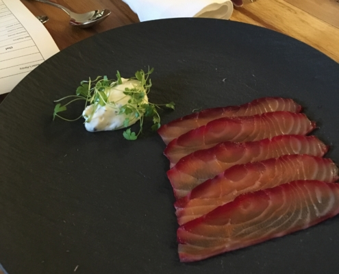 Soy & beetroot cured salmon capers, dill cream
